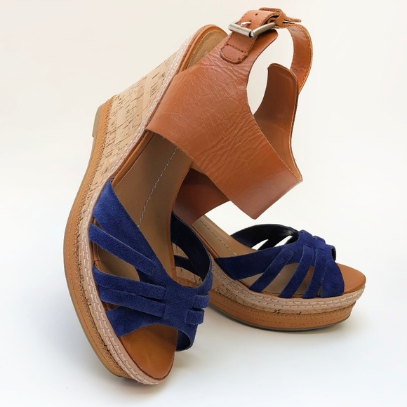 964b6e70c5d Dolce Vita Shoes - Dolce Vita Blue Suede Tan Leather Cork Wedges 9.5